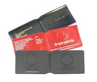 Oyster Wallets in expanded PVC with debossing.